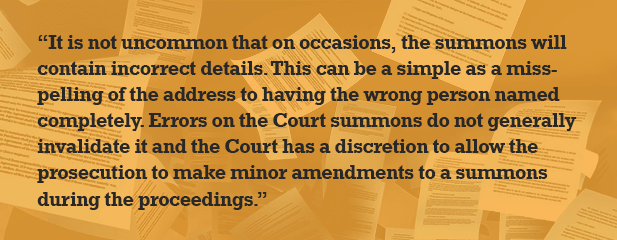Wrong name on court summons quote